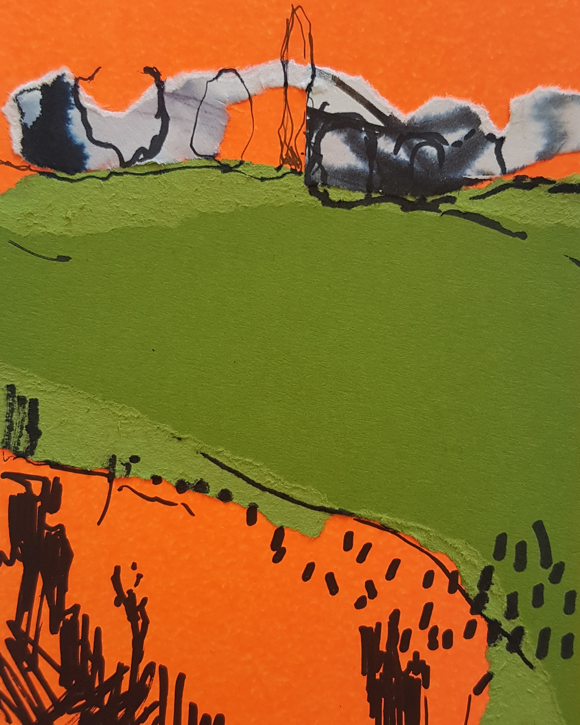 'Green field on orange'