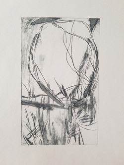 Dry point etching of landscape