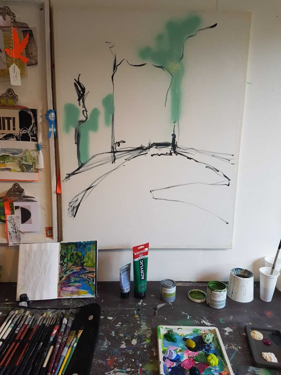 beginnings of new large canvas