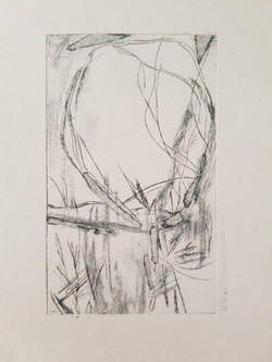 Drypoint etching of a landscape