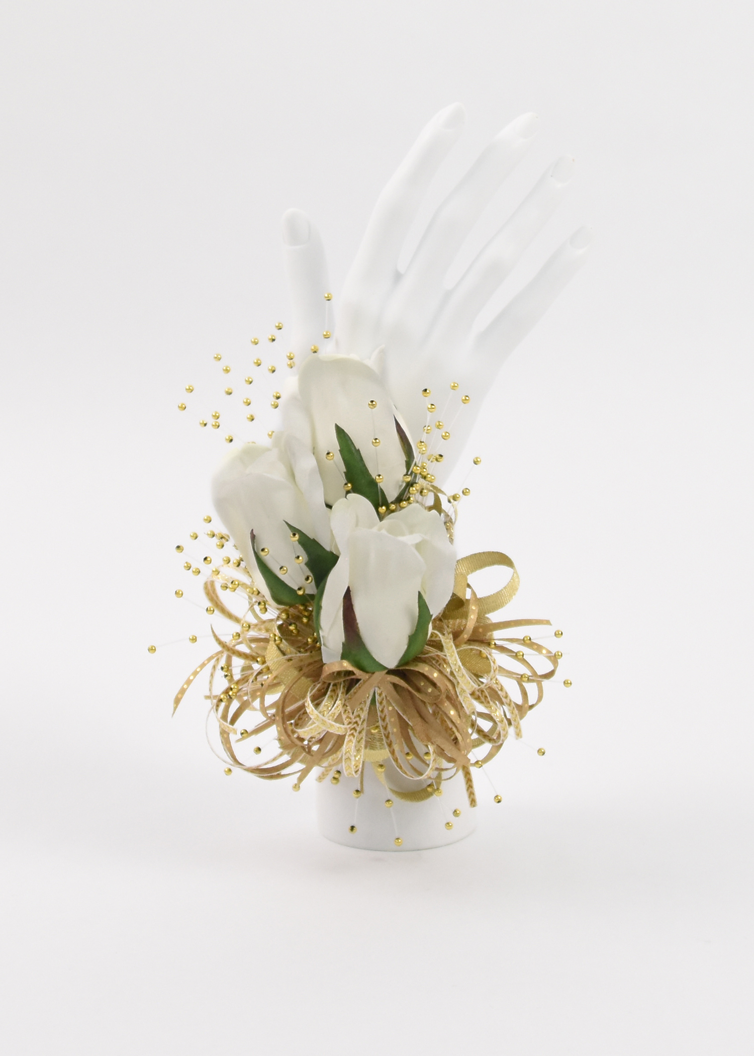 White Rose Buds & Gold Ribbons
