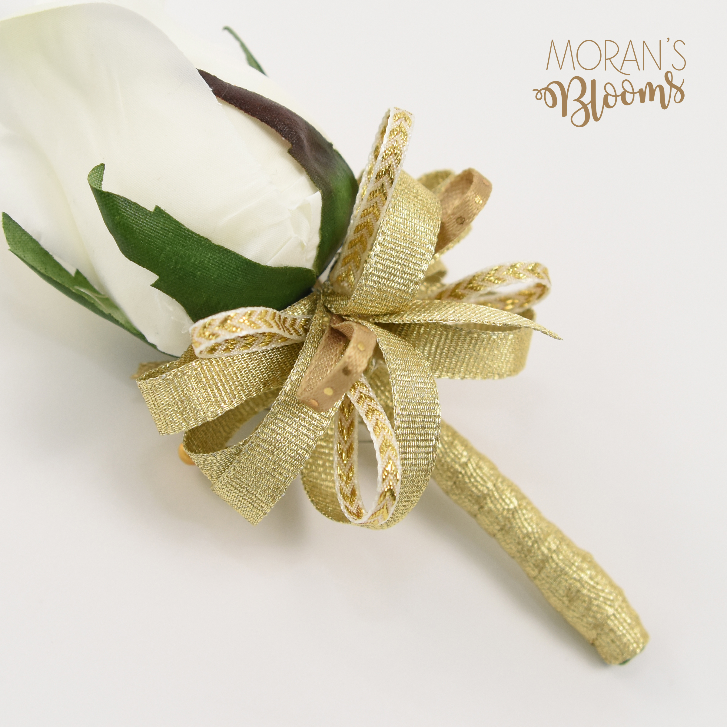White Rose Bud & Gold Ribbions