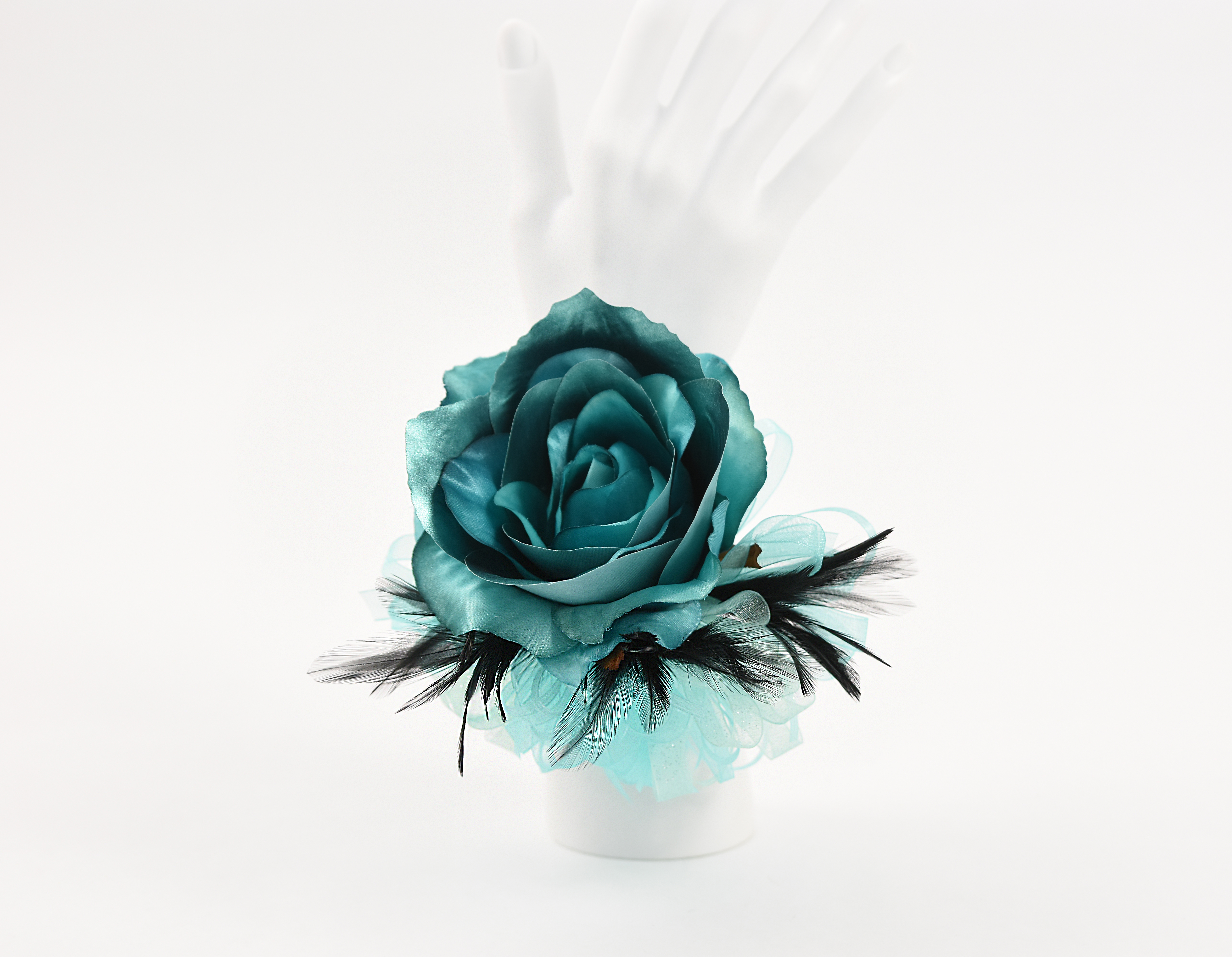 Teal Rose & Black Feathers