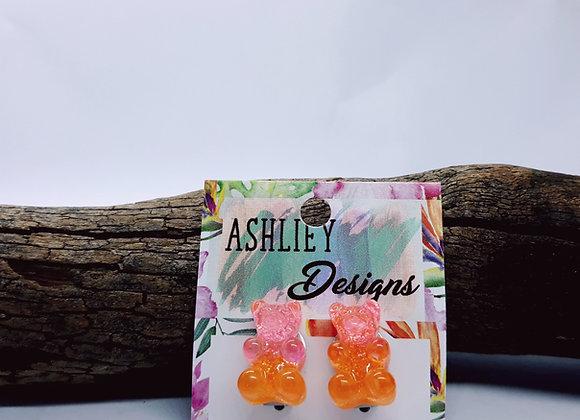 Pink/Orange Glitter Gummy Bear Clipons