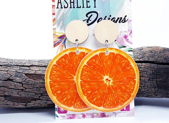 Orange Stud Dangles