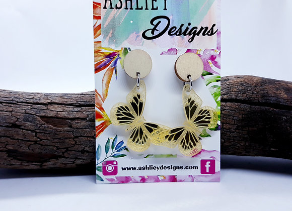 Gold Mirror Butterfly Dangles