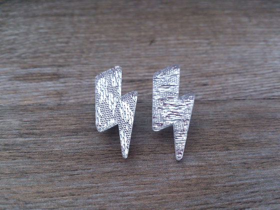 Silver Lightning Bolt Studs