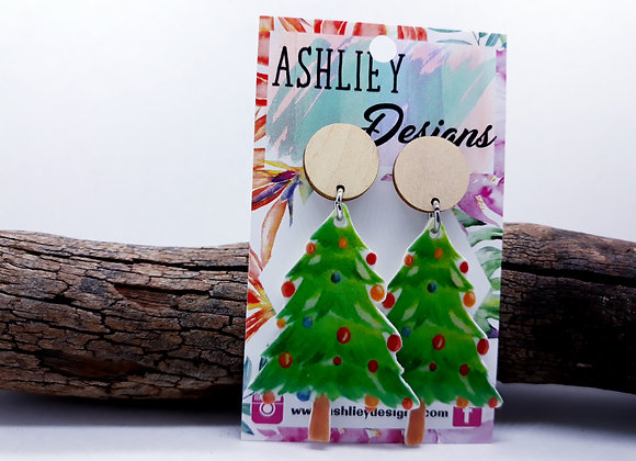 Christmas Tree Stud Dangles
