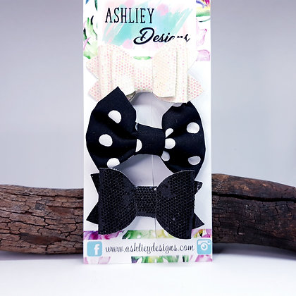 Black/White 3 Pack Small Bows