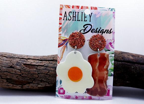 Egg & Bacon Stud Dangles