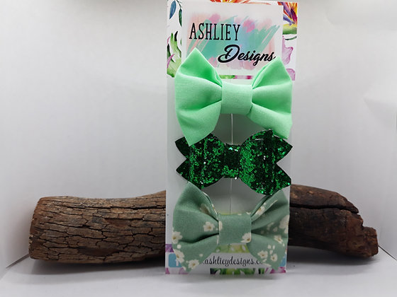 Green 3 Pack Small Bows