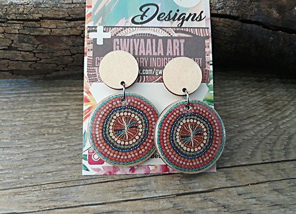 Aqua/Red/Pink Indigenous Art Dangles