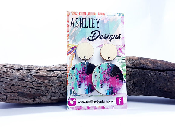 Pink/Aqua/Black Abstract Dangles