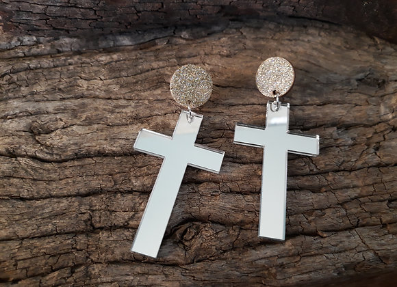 Silver Mirror Cross Dangles