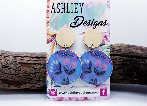 Blue/Pink Flowers Dangles