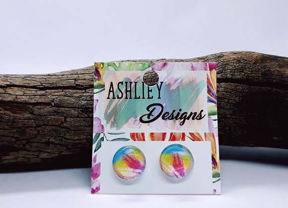 Pink/Blue Abstract Studs