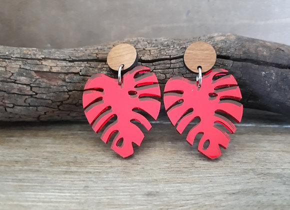 Red Mirror Monstera Leaf Dangles