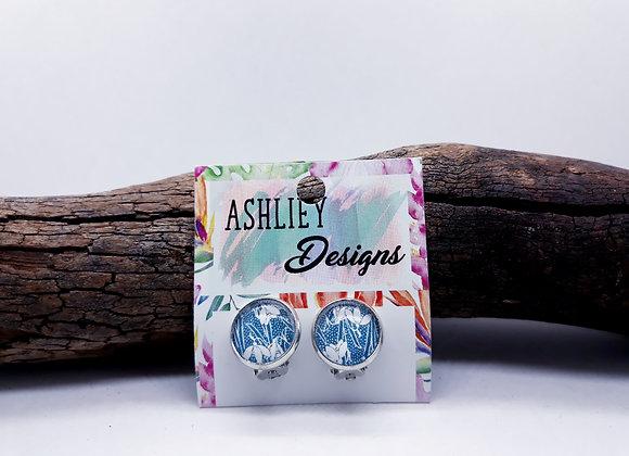 Aqua/White Flowers Clip-on's