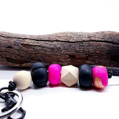 Pink/Black Keyring