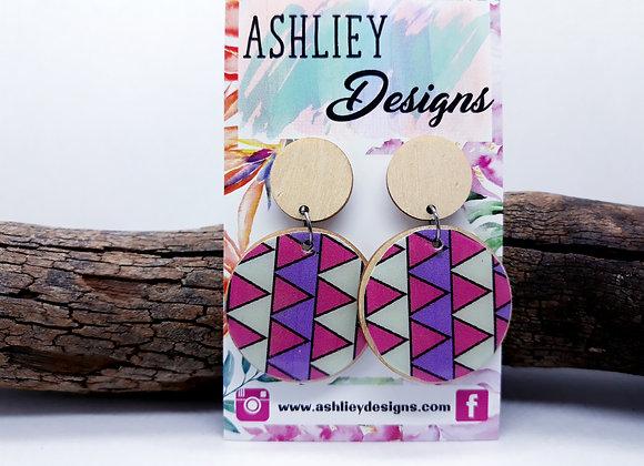 Pink/Purple Patten Dangles