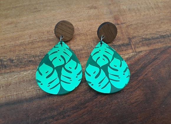 Green Monstera Drop Stud Dangles