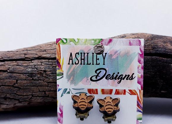 Wood Bee Clip-Ons