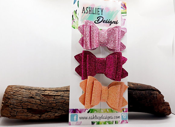 Pink Glitter 3 Pack Small Bows