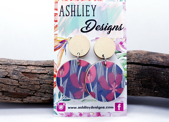 Red/Navy Flowers Dangles