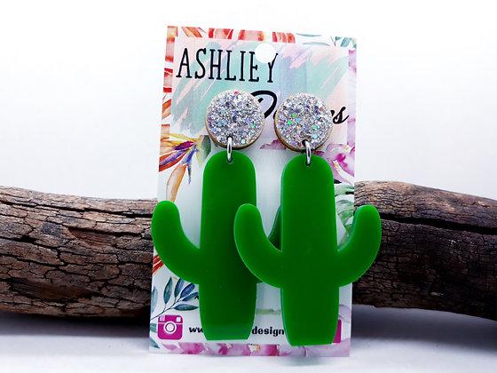 Green Cactus Dangles