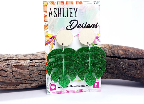Green Monstera Leaf Dangles