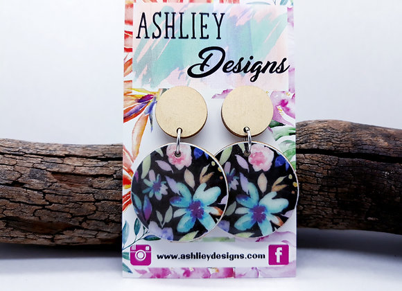 Black/Flowers Dangles