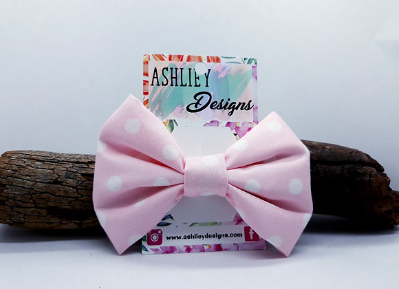 Light Pink/White Spot Bow