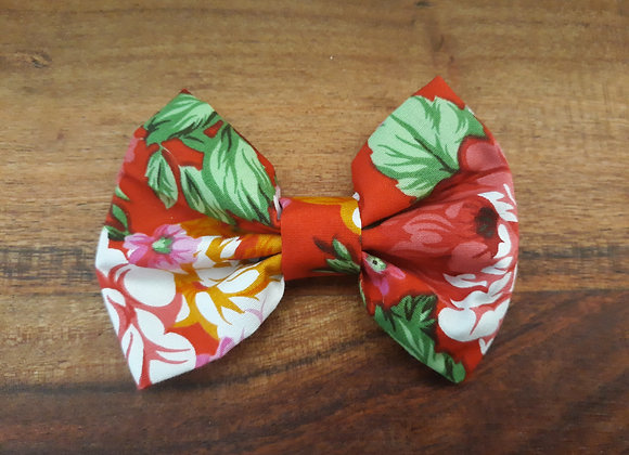 Red/Flowers Bow