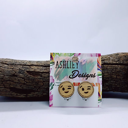 Wood Wink Emoji Clip-Ons
