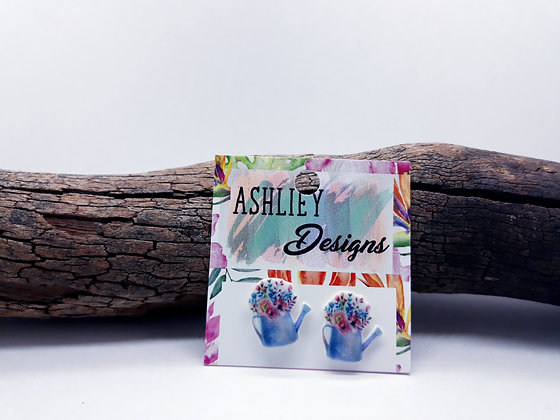 Watering Can With Flowers Studs