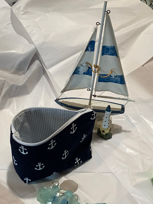 Nautical Zipper Pouch& matching Mask