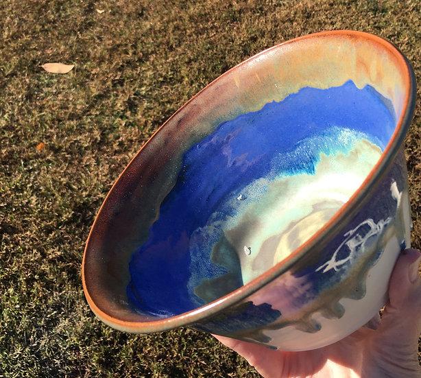 Large Gold, Blue +Alabaster Bowl