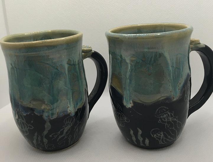 Drippy Carved Ocean Mugs