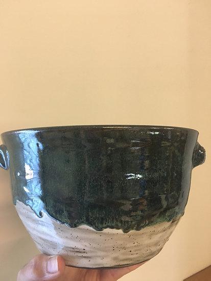 Large Deep Green + White Handled Bowl