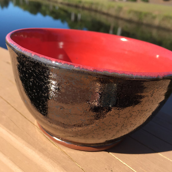 Red & Gold Cereal Bowl