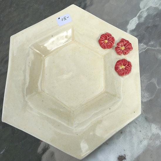 Cream Red Flowered Hexagon Plate