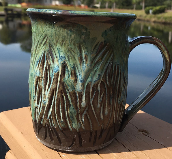 Carved mug with Blue & Green