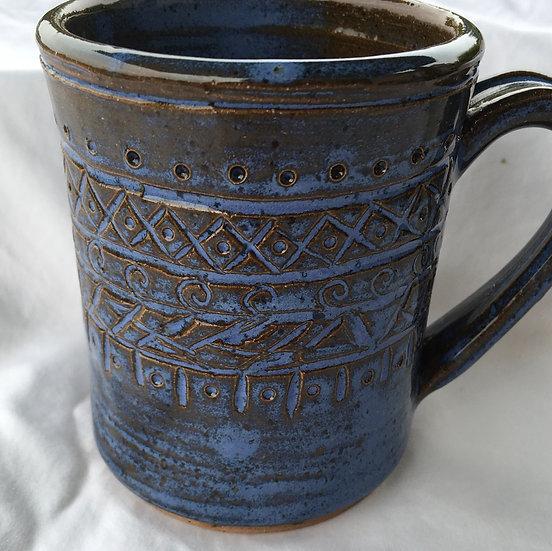 Carved Blue Mug