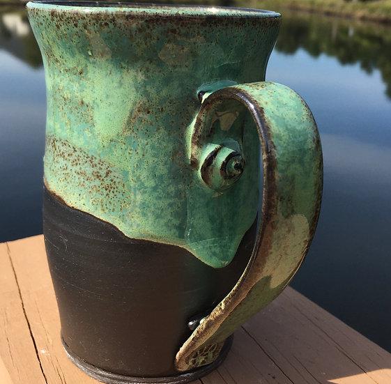 Large Green & Brown Mug