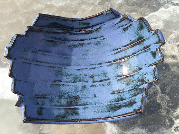 Blue handbuilt dish