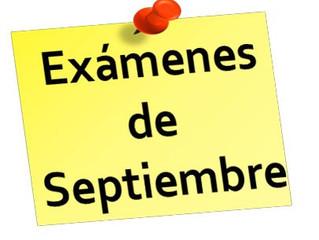 Calendario exámenes septiembre 2020