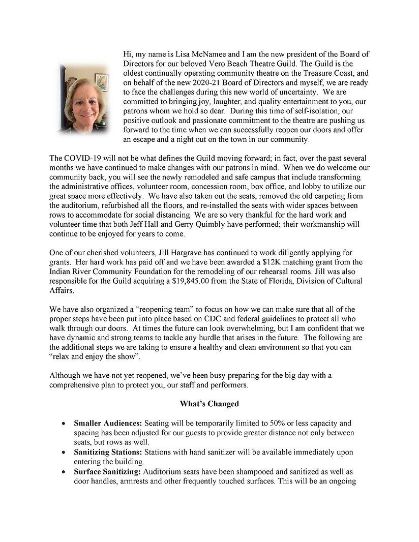 Lisa McNamee President's communituy lett
