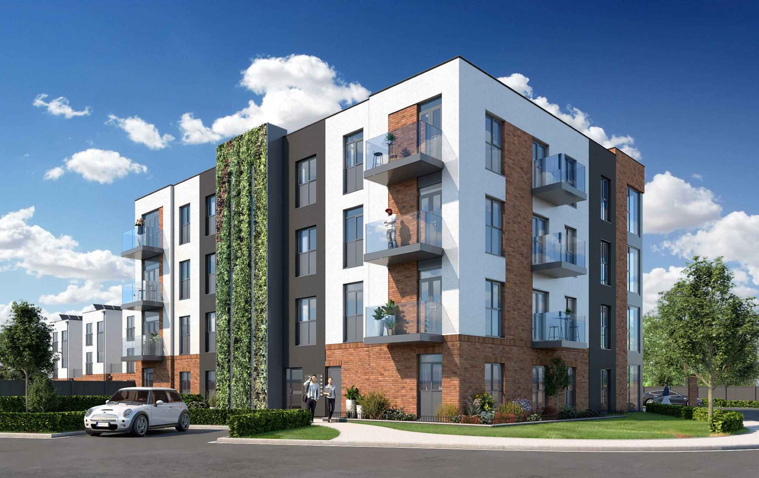 4 story eco living apartment building with greenery and plants around building.