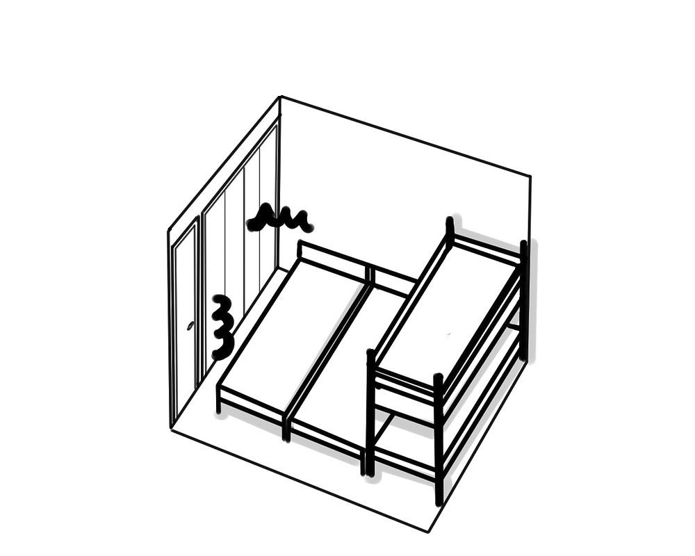 整理収納 ベッドがギチギチ例01