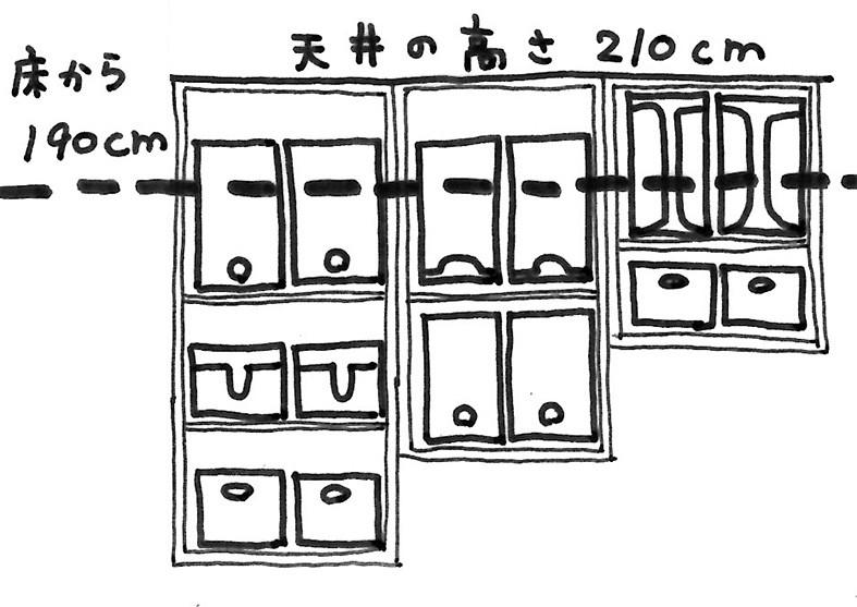 キッチン収納 天井210cm